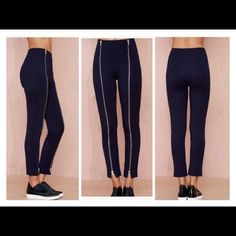 Navy zipper leggings These high quality thick navy leggings feature zipper detailing at front, ankle-grazing length, and slightly flared silhouette at hems.  New never worn. Available is size S, M, L  *Rayon/Polyester/Spandex  *Runs true to size *Model is wearing smallest size available *Hand wash *Imported Nasty Gal Pants Skinny