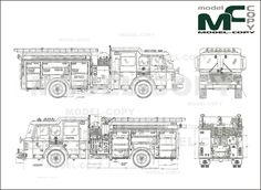 American LaFrance Eagle Fire Pumper (2000) - drawing