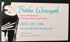 this is my personal business card, if interested in getting canvases done feel free to email or text me at the contact info provided! Text Me, Custom Paint, Canvases, Wall Murals, Feelings, Create, Business, Artist, Cards