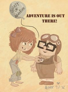Adventure Is Out There!- Young Carl and Ellie Disney Up, Cute Disney, Disney Magic, Disney Pixar, Walt Disney, Up Pixar, Pixar Movies, Walle Y Eva, Up The Movie