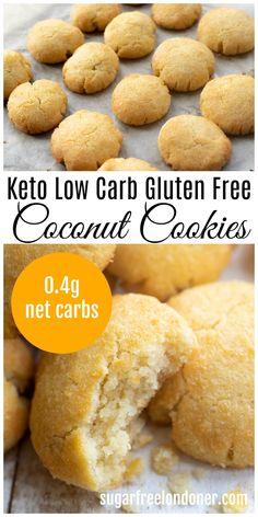 Keto Cookies, Coconut Flour Cookies, Baking With Coconut Flour, No Flour Cookies, Sugar Free Cookies, Coconut Flour Cookie Recipes, Low Carb Sugar Cookie Recipe, Low Carb Cookie, Coconut Recipes Healthy