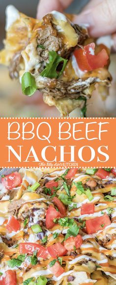#BBQ Beef #Nachos, layered nachos piled high with tender beef, cheese sauce, and all the fixins! #Recipe from ThisSillyGirlsKitchen.com #bbqbeef #appetizer