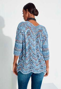 Blusa Mescla Azul Aquarela de Tricô - Fio Aquarela - Blog do Bazar Horizonte - Maior Armarinho Virtual do Brasil Baby Knitting Patterns, Weaving Patterns, Cardigan Au Crochet, Knitted Blankets, Tunic Tops, Pullover, Fabric, Sweaters, Crochet Diy
