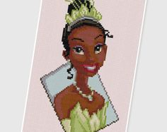 PDF Cross Stitch pattern - 0002.Princess Tiana ( The Princess and the Frog ) - INSTANT DOWNLOAD