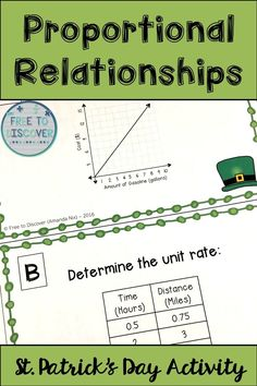 St. Patrick's Day activity for math class! In this St. Patrick's Day-themed activity, students practice determining the constant of proportionality and unit rate given an equation, table, graph, or verbal scenario. Some of the tables and graphs are generic, while others engage students in real life applications. Perfect for middle school math! By Free to Discover.