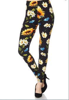 3bec7f0d7b5ab ONE Size PRETTY SUNFLOWER FLORAL Leggings BUTTERY SOFT Fits Size 2-12 NWT. Lularoe  Os LeggingsFloral LeggingsBlack ...