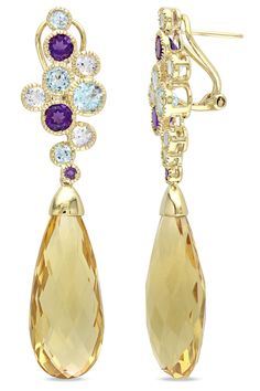Eclipse 44.33 Ct Multi-Gemstone Drop Earrings In 14k Yellow Gold