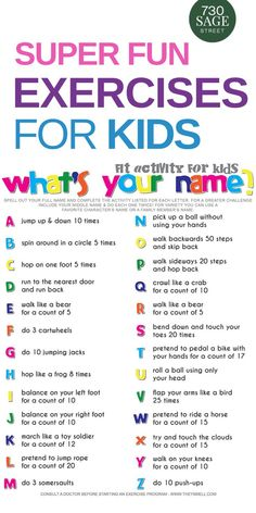 Spell your name workout fitness activity printable for kids. Your kids will get a workout without realizing it when you make fitness into a fun game. # What's Your Name? Fitness Activity Printable for Kids Toddler Learning Activities, Fitness Activities, Home Activities, Home Learning, Educational Activities, Kids Printable Activities, Days Of The Week Activities, Fun Printables For Kids, Summer Activities For Toddlers