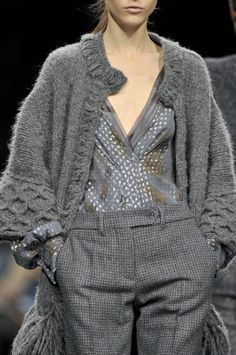 Ermanno Scervino at Milan Fashion Week Fall 2011.  That knitted sweater is radical.  Love!
