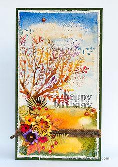 Autumn Tree With Dimensional Flowers Tutorial Birthday Cards For Boys Handmade