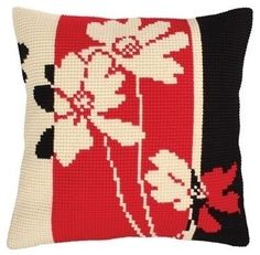 Shop for Collection D'Art Stamped Needlepoint Cushion Kit And Black II. Get free delivery On EVERYTHING* Overstock - Your Online Sewing & Needlework Shop! Cross Stitch Gallery, Cross Stitch Pictures, Cross Stitch Borders, Cross Stitch Designs, Cross Stitch Patterns, Vintage Embroidery, Ribbon Embroidery, Cross Stitch Embroidery, Needlepoint Pillows