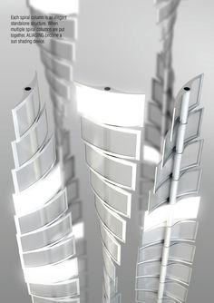 Aliasing is a wind tubrine that uses OLED technology as the blade. The result is a sustainable billboard powered by wind. Parametric Architecture, Green Architecture, Sustainable Architecture, Architecture Design, Metal Facade, Metal Panels, Solar Panels, Vertical Wind Turbine, Shapes And Curves