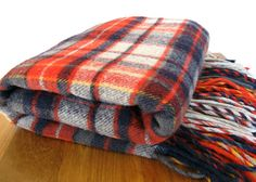 Vintage Pendleton Wool Blanket-Red and Blue Plaid by MarketHome, $45.00