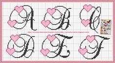 Dany Bordados: Monogramas Cross Stitch Letters, Cross Stitch Heart, Cross Stitching, Cross Stitch Embroidery, Cross Stitch Designs, Stitch Patterns, Plastic Canvas Letters, Crochet Letters, Monogram Alphabet