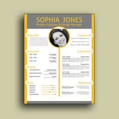 "Resume w/ Photo - Professional, Modern and Creative Resume Design w/ Free Cover Letter, Word Template, Teacher, CV, Orange - ""The Oringater"""