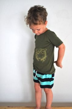 tiger tee and stripey shorts by elsie marley