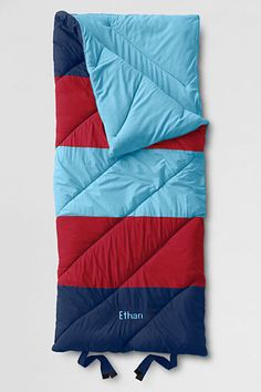 Spinnaker Stripe Sleeping Bag from Lands' End Great gift suggestion for the grandparents at Christmas time! Navy Nursery, Kids Sleeping Bags, Best Camping Gear, Boys Pajamas, Practical Gifts, Kids House, Blue Bags, Lands End, Kid Names