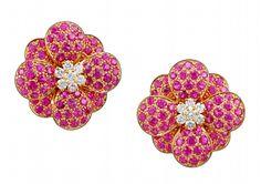 Yafa Jewelry Inc. - VAN CLEEF & ARPELS Diamond & Pink Sapphire Flower Earrings