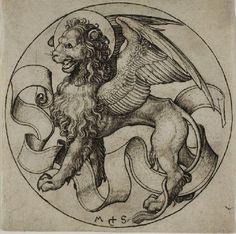 'le `lion` des saint marque', gravure de Martin Schongauer (1448-1491, Germany)