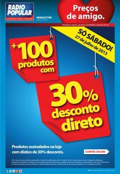 Newsletter - Só sábado! Mais de 100 produtos com 30% desconto direto.  http://www.radiopopular.pt/newsletter/2013/76/