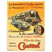 Original Vintage Car Racing Poster Issued By Castrol Featuring A Steam Train And Sir Malcolm Campbell's Bluebird For Sale