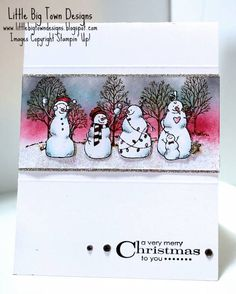 Frosty Friends handmade card: CASE by mnishi - Cards and Paper Crafts at Splitcoaststampers ~Love the use of the Lovely as a Tree stamp in the background