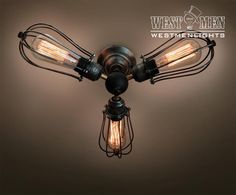 Mid Century Chandelier Vintage Industrial Cage Ceiling Lamp steampunk Kitchen…