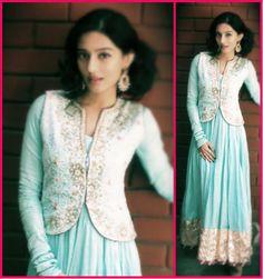 Amrita Rao dons a beautiful blue Kanika Kedia anarkali to an event last weekend.