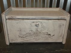 Shabby Chic Breadbox Vintage Grains Breadbox Rustic Cottage Chic Bread Bin Kitchen Storage by OutOfMyShabbyMind on Etsy