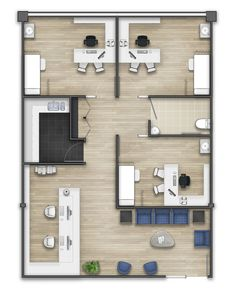 Floor plan rendering on Behance
