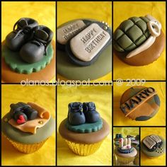 Army Cupcakes - That my friend @Debi Rigg can make something similar for her son.