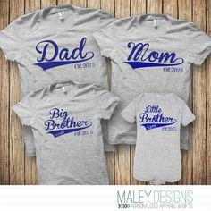 Family Baseball Shirts, Matching Family Shirts, Set of 4 Matching Family Outfits, You pick the text, design color, and year! by MaleyDesigns on Etsy https://www.etsy.com/listing/253680877/family-baseball-shirts-matching-family