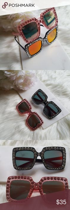 Last one in black color. Oversized mirror sunglasses with crystals. Brand new. polarized. Accessories Sunglasses