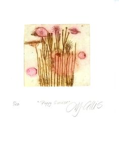 Poppy Sunrise etching flowers in pink by mariannjohansenellis, $35.00