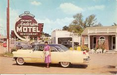 Anderson Motel and Restaurant on U.S. Highway 41 South five minutes from downtown Murfreesboro, Tennessee. A 1954 Cadillac is prominent in the scene.