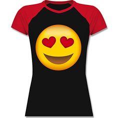 Comic Shirts - Verliebter Emoji - zweifarbiges Baseballshirt / Raglan T-Shirt für Damen