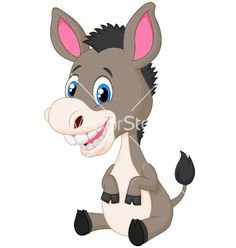 Cute baby donkey cartoon vector 2194479 - by tigatelu on VectorStock®