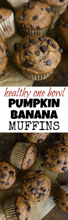 One Bowl Pumpkin Banana Muffins to help you use up overripe bananas and leftover canned pumpkin! Not quite pumpkin muffins, not quite banana muffins, they combine hints of both to create healthy muffins that are naturally sweetened and loaded with flavour Snack Recipes, Dessert Recipes, Snacks, Healthy Recipes, Fall Desserts, Muffin Recipes, Healthy Foods, Healthy Baking, Healthy Treats