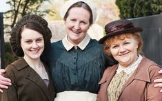 Downton Abbey Series 2, Episode 3 Behind-the-Scenes - Sophie McShera as Daisy, Lesley Nicol as Mrs. Patmore, and Christine Lohr as Mrs. Bird