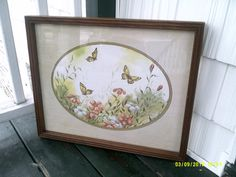 Butterfly and Floral framed Print/ Vintage by UpcycledCottageDecor