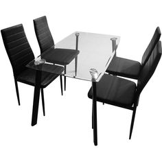 Harley Black And Clear Glass Dining Table And 4 Black Chairs 4
