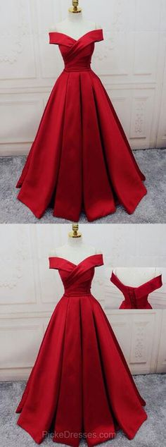 Gorgeous Red Prom Dresses, Off-the-shoulder Prom Dress,Stain Prom Dress, Ball Gown Party Dresses Satin, Sweep Train Sashes / Ribbons Formal Dresses