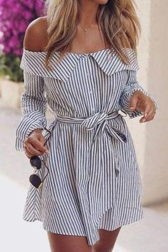edf7e2bf03cc STRIPE OFF SHOULDER TIE WAIST DRESS No reviews