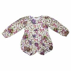 A classic style handmade 100% cotton playsuit with oversized long balloon sleeves, shell button down front, snap clasp opening for nappy changing with ease and two small waist pockets. Bright India Dreaming Winter print with white lining. Layer with tights in winter for added warmth.