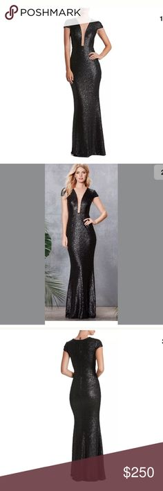 Dress The Population Michelle Black Sequin Gown L New store display Dress the Population Dresses Prom
