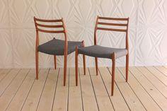JL Moller Model 78 Pair Teak Wood Side Chair Made In Denmark Niels Mid Century Modern Retro 50's 60's Rope Seat Desk by RetroSpecList on Etsy https://www.etsy.com/listing/252277740/jl-moller-model-78-pair-teak-wood-side