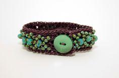 Crochet Cuff Bracelet, Turquoise Beadwork, Boho Chic Crochet Bead Bracelet, Eggplant Thread Crochet.