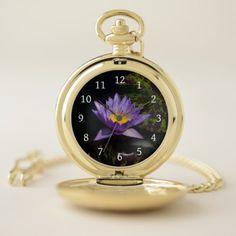 Purple Lotus Waterlily Pocket Watch