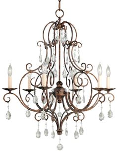 Chateau Collection Mocha Bronze Crystal Chandelier | LampsPlus.com
