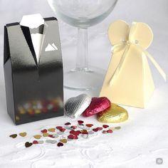 Groom Tuxedo & Bride Favour Box, Black and White